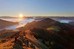 Slovakia mountain peak Osnica at sunrise - autumn panorama Stock Photo
