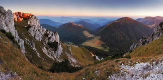 Slovakia mountain peak Rozsutec at sunset - panorama Royalty Free Stock Photos