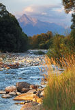 Slovakia mountain stream Bela with Tatra peak Krivan in backgrou Stock Image