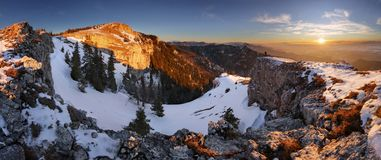 Slovakia mountain at winter, peak Tlsta at sunset, Fatra royalty free stock image