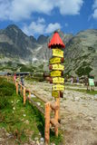 Slovakia mountains. Slovakia mountain tourist with indicator Stock Images