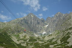 Slovakia mountains. With red cable car Royalty Free Stock Images