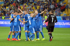 Slovakia national team players celebrate winning the match Stock Image