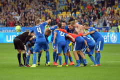 Slovakia national team players celebrate winning the match Stock Photography