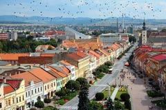 Slovakia - Presov. Presov, Slovakia - aerial view of the old town. Ominous black crows royalty free stock image