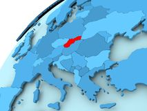 Slovakia on blue globe. Slovakia in red on blue model of political globe. 3D illustration Stock Photos