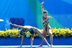 Slovakia`s Nada Daabousova and Jana Labathova compete during the synchronized swimming duet free routine preliminary round Royalty Free Stock Image