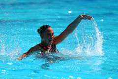 Slovakia`s Nada Daabousova and Jana Labathova compete during the synchronized swimming duet free routine preliminary round Stock Image