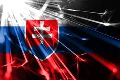 Slovakia shining fireworks sparkling flag. New Year 2019 and Christmas futuristic shiny party concept flag. Slovakia shining fireworks sparkling flag. New Year royalty free illustration