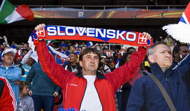 Slovakia Soccer Supporters - FIFA WC. Hordes of soccer fanatics, supporting Slovakia, show support for the team at the 2010 FIFA soccer world cup Stock Image
