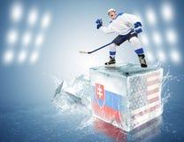 Slovakia - USA game. Spunky hockey player on ice cube Stock Photo