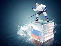 Slovakia-USA game. Spunky hockey player on ice cube Stock Photography