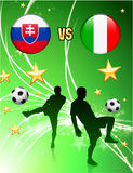 Slovakia versus Italy on Abstract Green Stars Background Royalty Free Stock Images