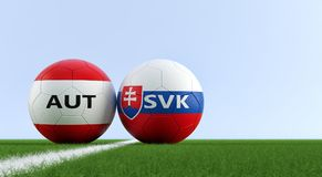 Slovakia vs. Austria Soccer Match - Soccer balls in Slovakia and Austria national colors on a soccer field. Copy space on the right side - 3D Rendering Stock Photography