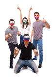 Slovakia, Wales, Russia, England on white background. Football fans of national teams celebrate, dance and scream. European football fans concept Stock Image