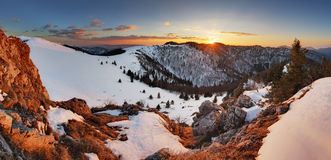 Slovakia winter mountain at sunset - Velka Fatra Royalty Free Stock Image