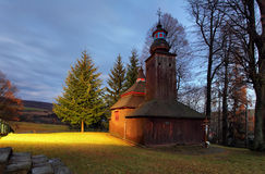 Slovakia - Wooden church in Semetkovce at night Royalty Free Stock Image