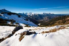 Slovakian Belianske Tatry mountains landscape. Beautiful slovakian Belianske Tatry mountains. Beautiful sunny panorama - Siroka dolina - wide valley in snow royalty free stock image