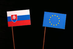 Slovakian flag with European Union EU flag  on black Stock Photography
