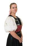 Slovakian folk costume - embroidered traditional dress Stock Photos