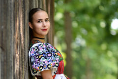 Slovakian folklore. Traditional woman costume Stock Photos