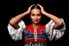 Slovakian folklore woman. Slovakian folklore dancer woman portrait stock images
