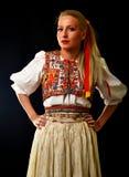 Slovakian folklore woman. Woman dressed on slovakian folklore dress stock images