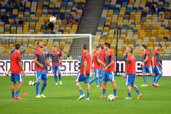 Slovakian football players warms-up Stock Images