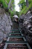 Slovakian Paradise, SLOVAKIA - JULY 05: Unknown Hiker in Slovaki Stock Image