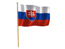 Slovakian silk flag Stock Photo