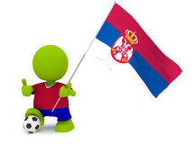 Slovakian Soccer. Illustration of a man in a Slovakian soccer jersey with a ball holding a flag. Part of my cute green man series Stock Photo