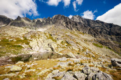 Slovakian Spiski lakes Tatry mountains. Beautiful five spiskie lakes valley - in slovakian Tatry mountains. Beautiful panorama - Chata Teryho, kotlina Piatich royalty free stock photos