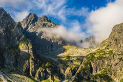 Slovakian Tatras. Mountain peaks on the background of clouds and sky. Royalty Free Stock Photography