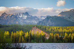 Slovakian Tatry Strbske pleso landscape. Beautiful strbske pleso - in slovakian Tatry mountains. Panorama of the lake royalty free stock photo