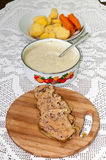 Slovakian traditional way of cooking chicken liver Royalty Free Stock Photos