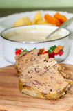 Slovakian traditional way of cooking chicken liver Stock Image