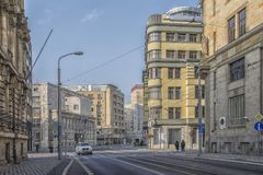 Slovakien Bratislava - November 5th, 2017 historisk gammal stad, byggnader från austro-ungrare välde Royaltyfri Bild