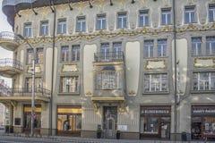 Slovakien Bratislava - November 5th, 2017 historisk gammal stad, byggnader från austro-ungrare välde Arkivfoto