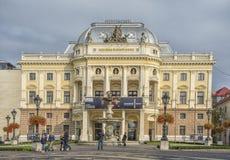 Slovakien Bratislava - November 5th, 2017 historisk gammal stad, byggnader från austro-ungrare välde nationell slovaktheatre Arkivbilder