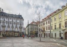 Slovakien Bratislava - November 5th, 2017 historisk gammal stad, byggnader från austro-ungrare välde San Carlos de Bariloche Arkivfoton