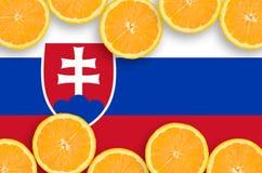 Slovakien flagga i citrusfruktskivahorisontalram arkivfoto