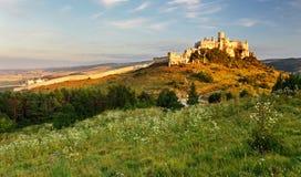 Slovakien landskap med den Spissky slotten royaltyfria foton