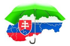 Slovakisk översikt under paraplyet Säkerhet och skyddar, eller försäkring lurar Arkivfoto