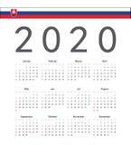 Slovakisk kalender för 2020 år för fyrkant vektor vektor illustrationer