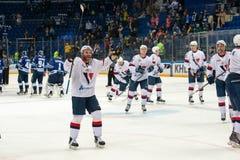 Slovan team rejoice on hockey game Stock Photography
