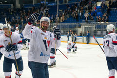Slovan team rejoice. MOSCOW, RUSSIA - OCTOBER 12, 2016: Slovan team rejoice on hockey game Dynamo Moscow vs Slovan Bratislava on Russia KHL championship in VTB Stock Photo