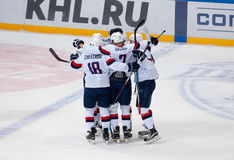 Slovan team rejoice of score Stock Images