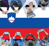 Slovania National Flag Government Freedom LIberty Concept.  Royalty Free Stock Photos