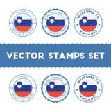 Slovene flag rubber stamps set. Stock Photos