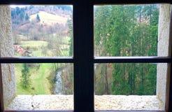 Slovenië door gat in kasteel Royalty-vrije Stock Afbeelding